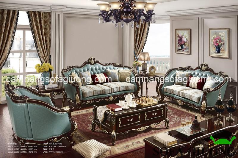 Mẫu ghế sofa cổ điển cao cấp da thật với gam màu độc đáo